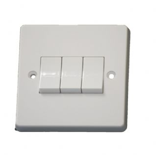 Crabtree 4173 3 Gang 2 Way Light Switch Plate Switch White 10 amp